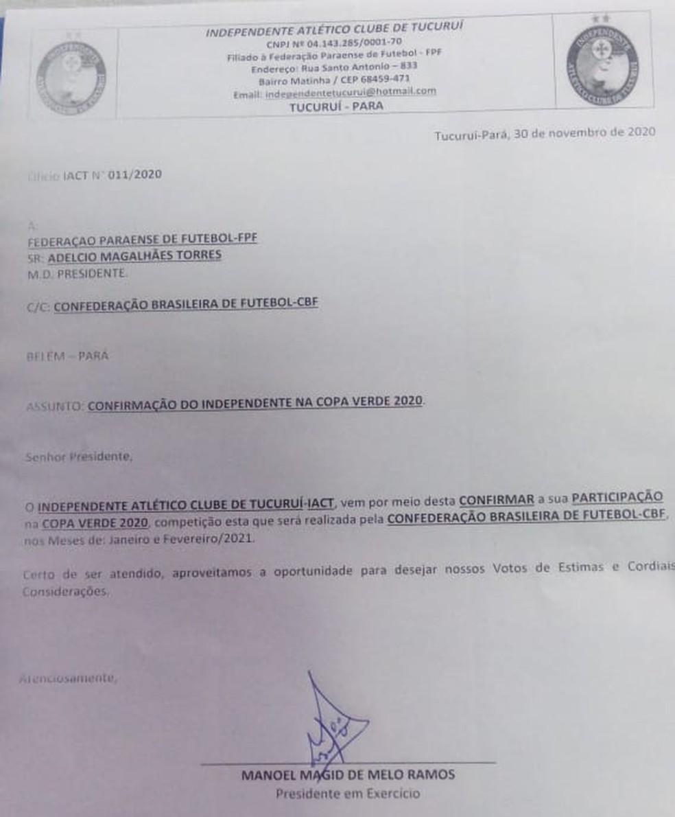 Ofício do Independente-PA confirmando participação na Copa Verde 2020 — Foto: Independente-PA