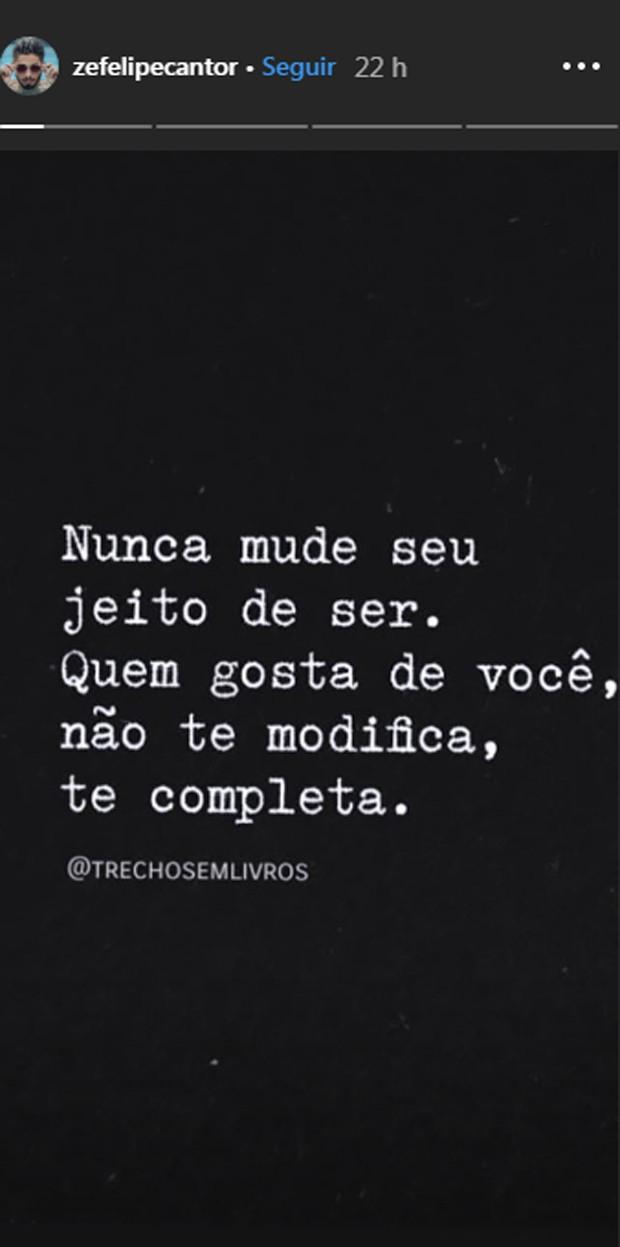 Texto de Zé Felipe no Instagram (Foto: Reprodução Instagram)