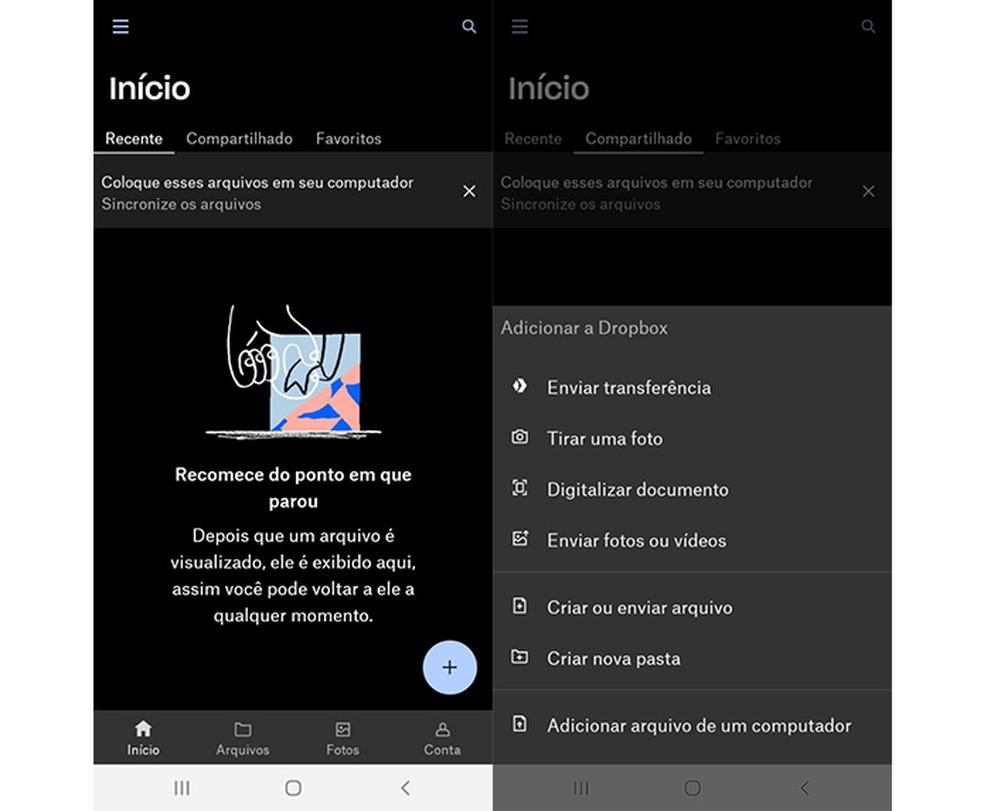 Dropbox é um aplicativo de armazenamento em nuvens  — Foto: Reprodução/Marcela Franco