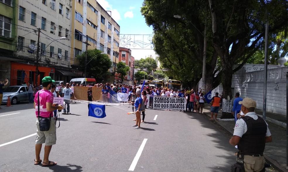 Conforme o 18º BPM, o grupo saiu da região da Praça do Campo Grande e, por volta das 9h50, seguia pela Avenida Sete de Setembro. As — Foto: Arquivo Pessoal
