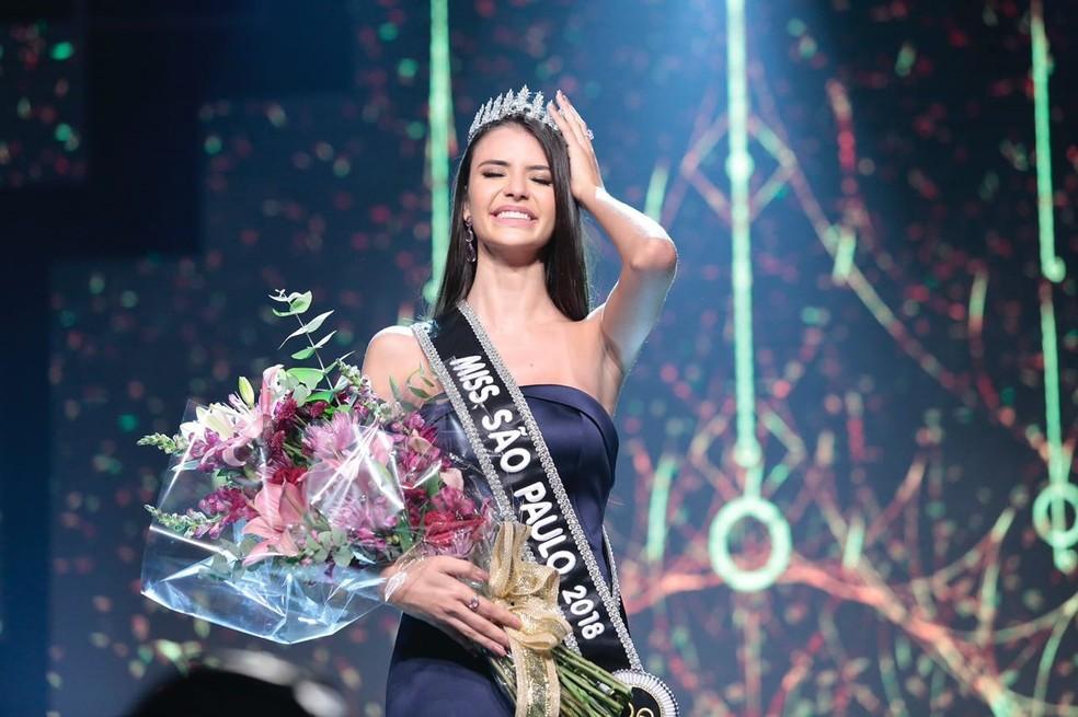 Paula Palhares, Miss Sumaré, é eleita Miss São Paulo 2018 (Foto: Rodrigo Trevisan/Divulgação/Band)