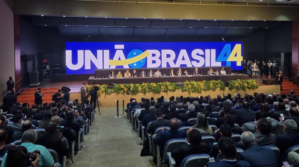 Convenção conjunta entre DEM e PSL, em Brasília, após aprovação da fusão entre os dois partidos — Foto: Wellington Hanna/TV Globo