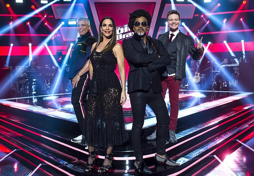 Carlinhos Brown, Lulu Santos, Michel Teló e Ivete Sangalo são os técnicos do The Voice Brasil (Foto: Mauricio Fidalgo/TV Globo)