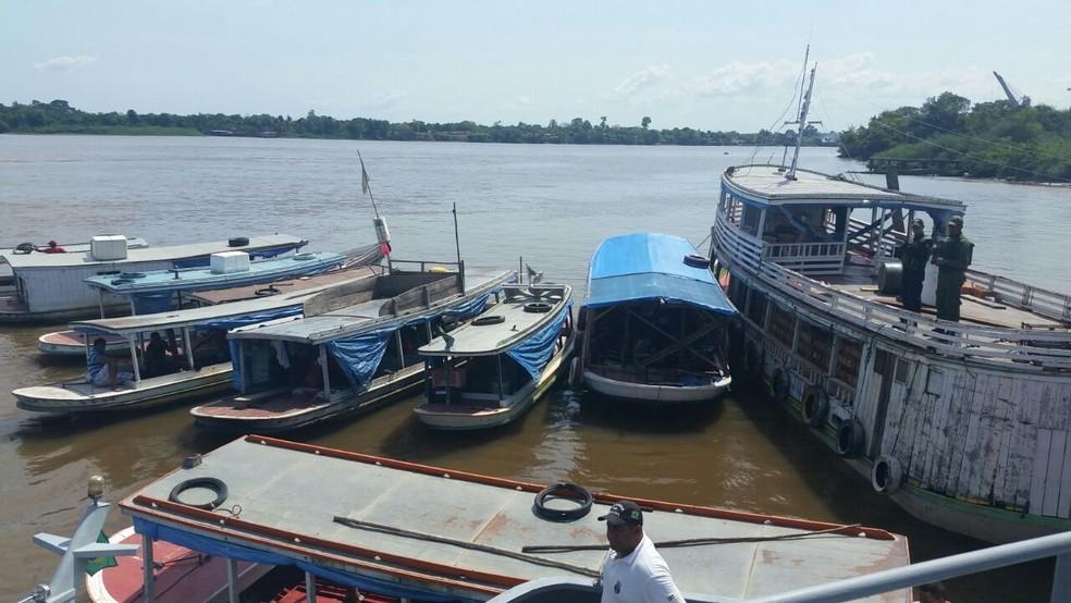 -  Embarcações apreendidas atuavam em rios do Amapá  Foto: Marinha do Brasil/Divulgação