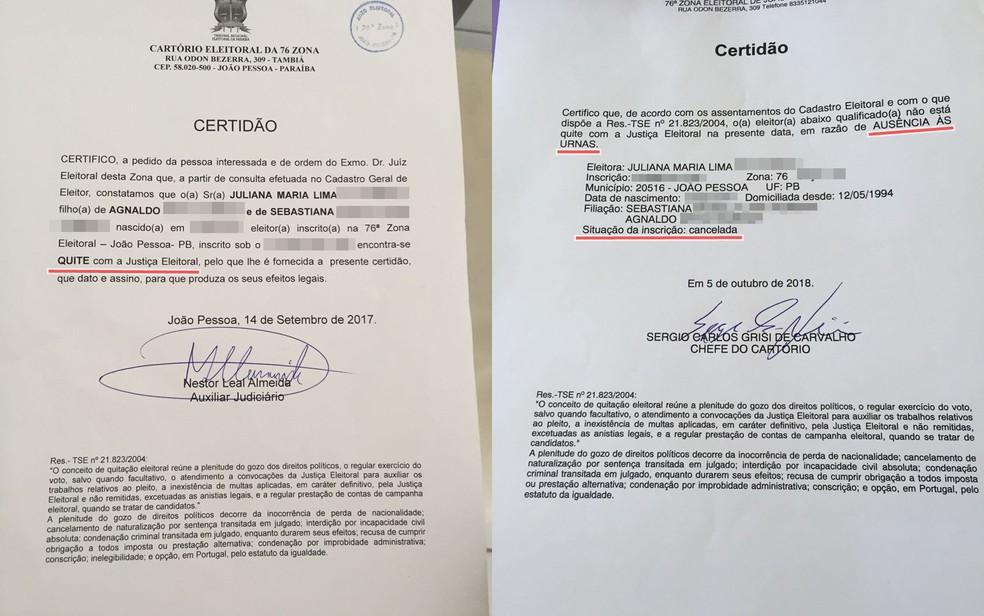 Juliana tem certidão que mostra quitação eleitoral em 2017, mas informação não consta no sistema do TRE — Foto: Juliana Maria/Arquivo Pessoal
