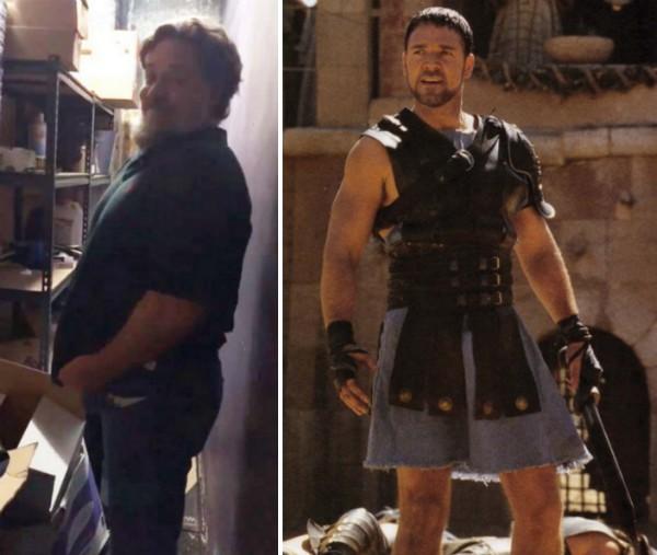 O atr Russell Crowe tentando colocar suas calças antigas (Foto: Instagram/Reprodução)