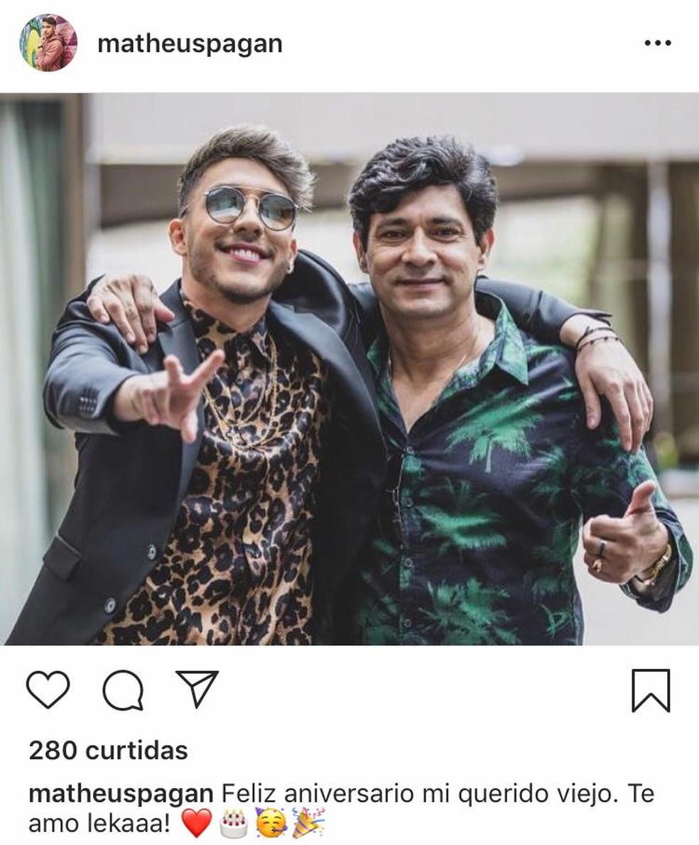 Matheus Pagan e o médico em foto postada no dia 19 de março. O pai do rapaz foi morto a tiros no Paraguai. — Foto: Instagram/Reprodução