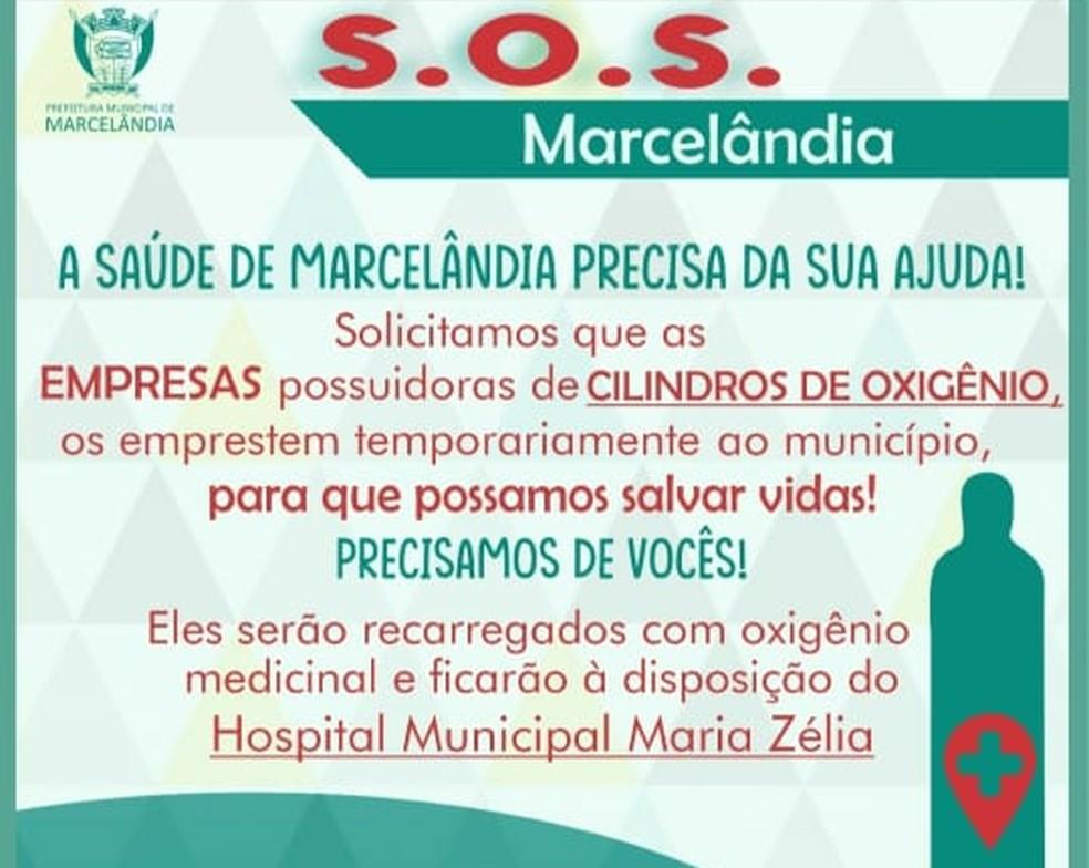 SOS Marcelândia pede doação de cilindros de oxigênio — Foto: Divulgação