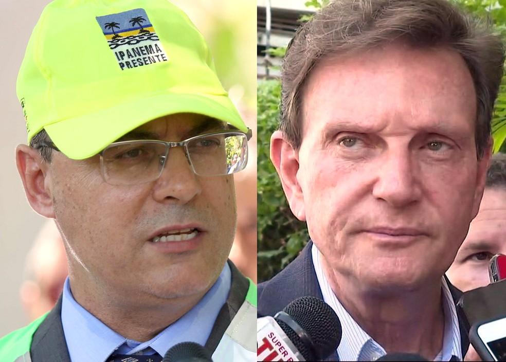 Wilson Witzel e Marcelo Crivella — Foto: Reprodução / TV Globo