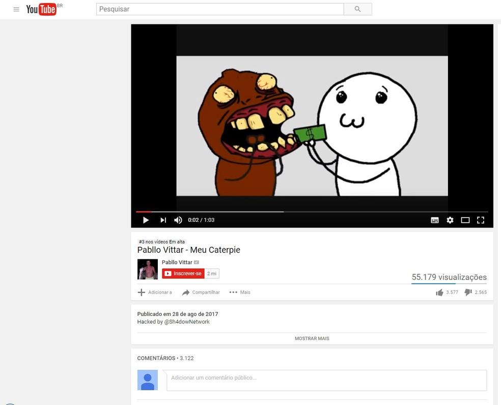 Pabllo Vittar tem página oficial no Youtube invadida (Foto: Reprodução/Youtube)