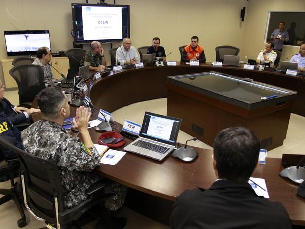 Autoridades de segurança se reúnem neste domingo no Gabinete Integrado de Acompanhamento (GIA) do Comitê Executivo de Segurança Integrada Regional - CESIR/RJ para acompanhar as atividades da área para Cerimônia de Encerramento dos Jogos Rio 2016,  (Foto: Philippe Lima/ SESEG)