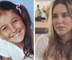 Monique Cury na infância e em fase atual, aos 51 | Reprodução/Youtube