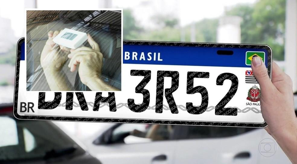 Placa do Mercosul incluirá chip prometido para veículos desde 2012 (Foto: Denatran/Divulgação/Arquivo)