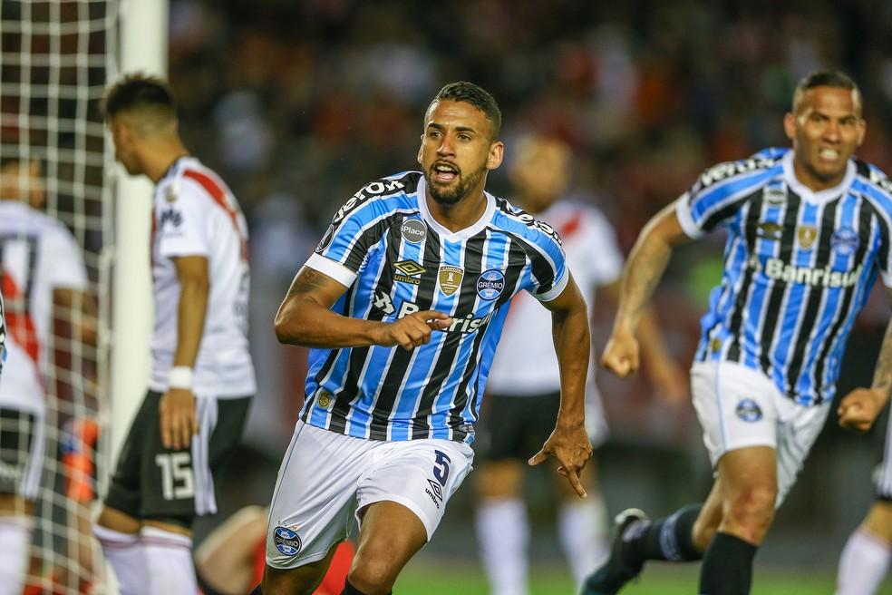 Michel marca contra o River Plate em 2018  — Foto: Lucas Uebel / Grêmio, DVG