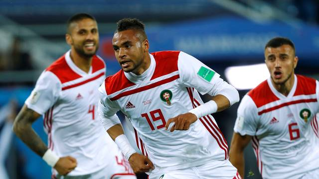 En-Nesyri comemora gol de Marrocos contra a Espanha