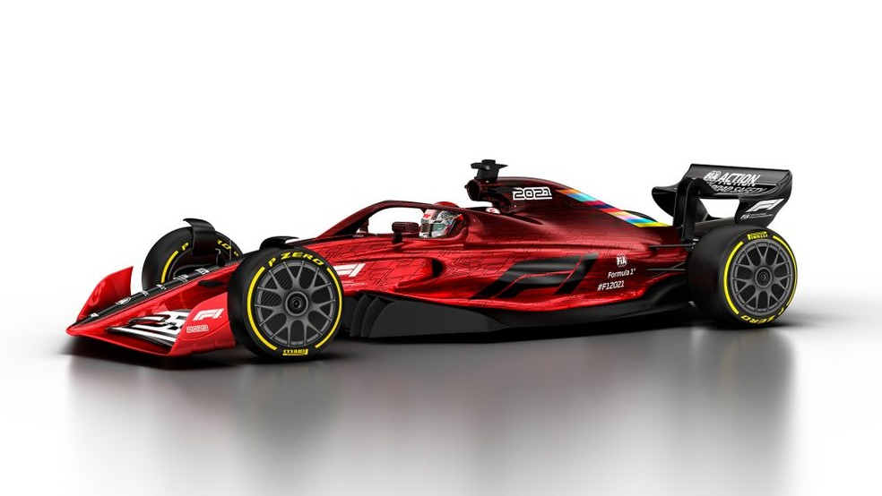 Carro da Fórmula 1 a ser usado a partir da temporada 2021 — Foto: Reprodução/FOM