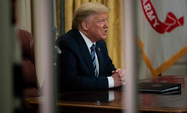 Presidente americano, Donald Trump, em anúncio sobre coronavírus nos EUA