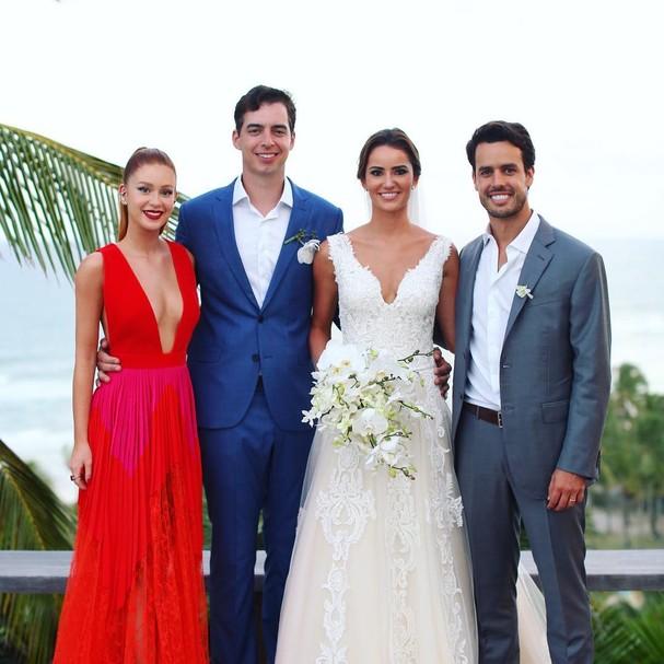 Marina e Xande foram padrinhos do casamento (Foto: Reprodução)