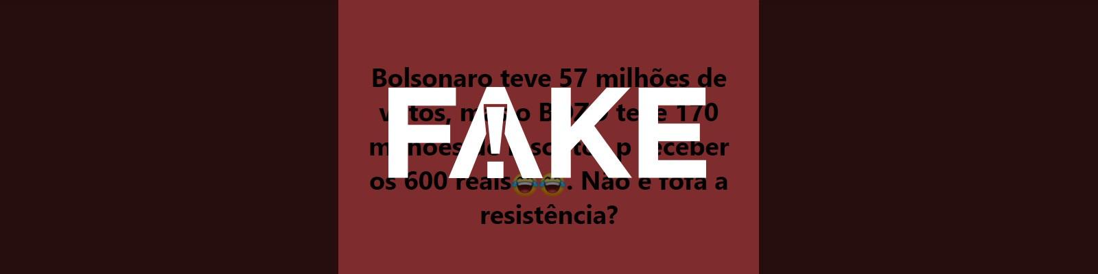 É #FAKE que 170 milhões fizeram inscrição para receber auxílio emergencial do governo federal