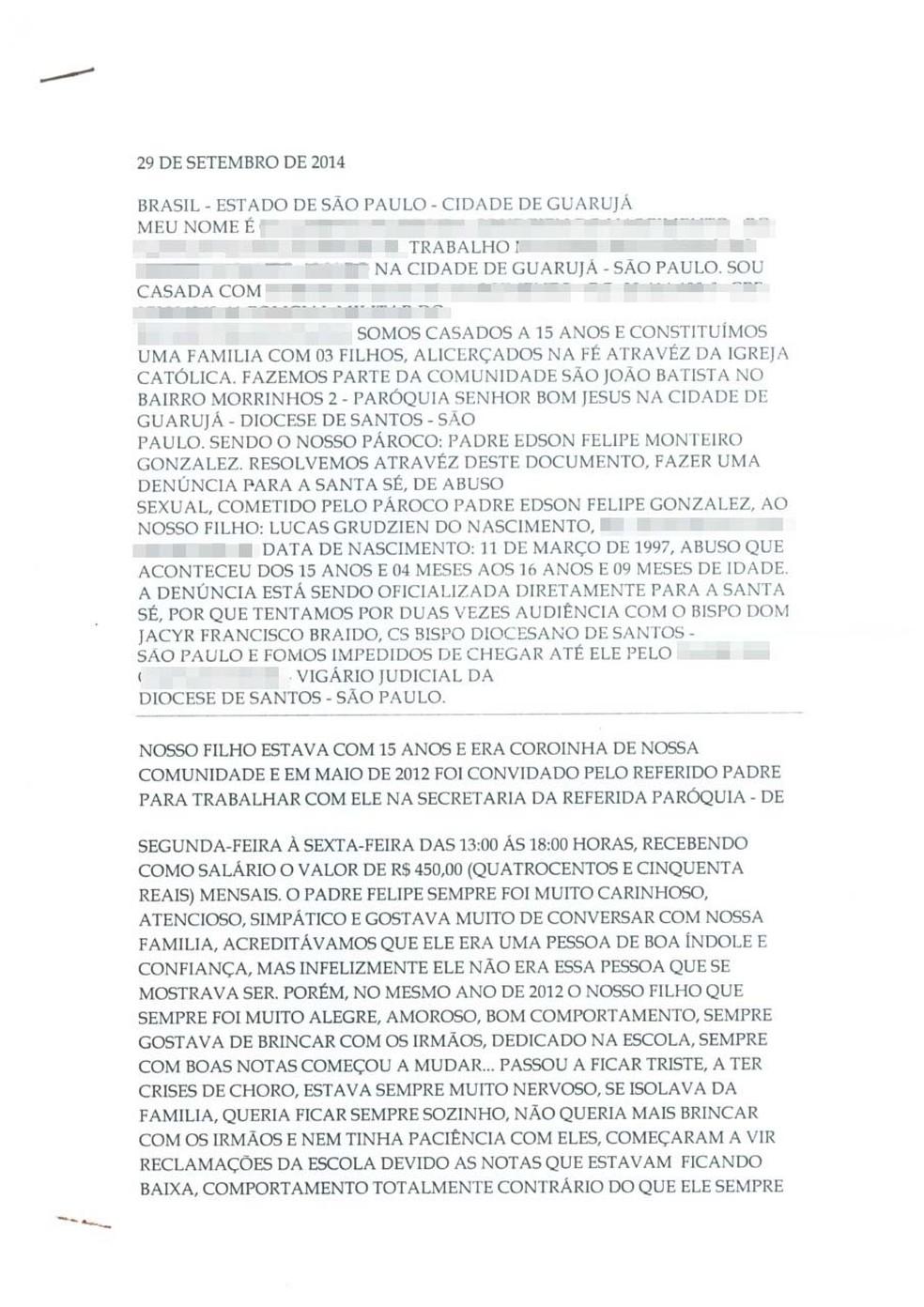 Mãe de Lucas chegou a fazer uma carta para o Vaticano denunciado o padre de estuprar o filho em Guarujá, SP — Foto: Arquivo pessoal