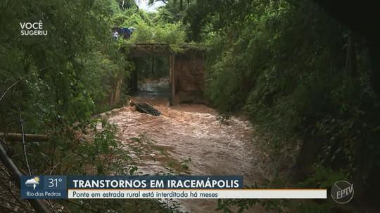 Moradores sofrem com interdição que já dura três meses em ponte que liga Iracemápolis a Limeira