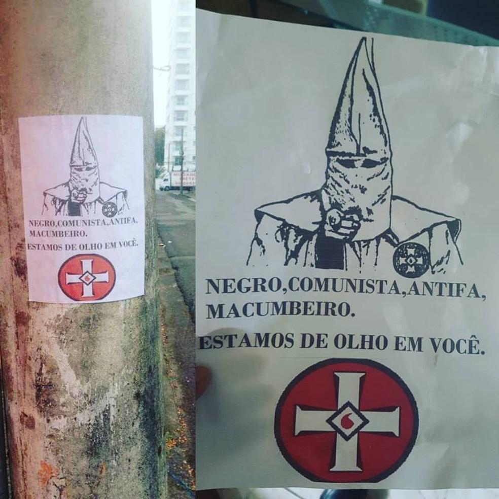 Cartazes racistas foram colados em Blumenau em setembro (Foto: Marco Antonio André/Arquivo pessoal)