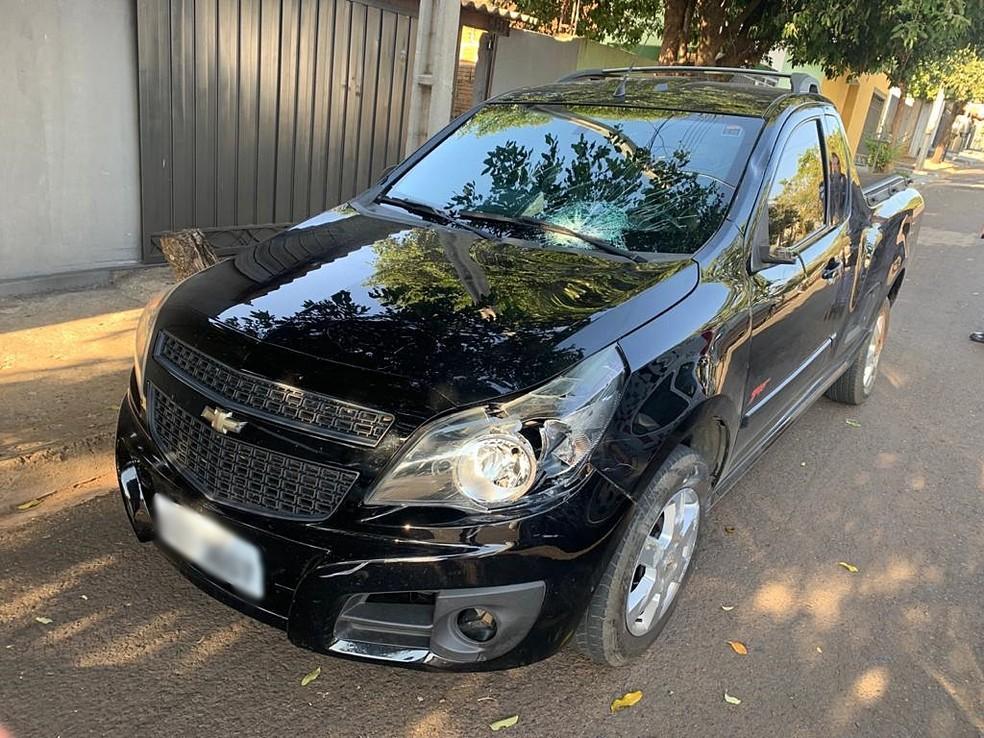 Carro foi apreendido pela polícia, em Novo Horizonte (SP) — Foto: Arquivo Pessoal