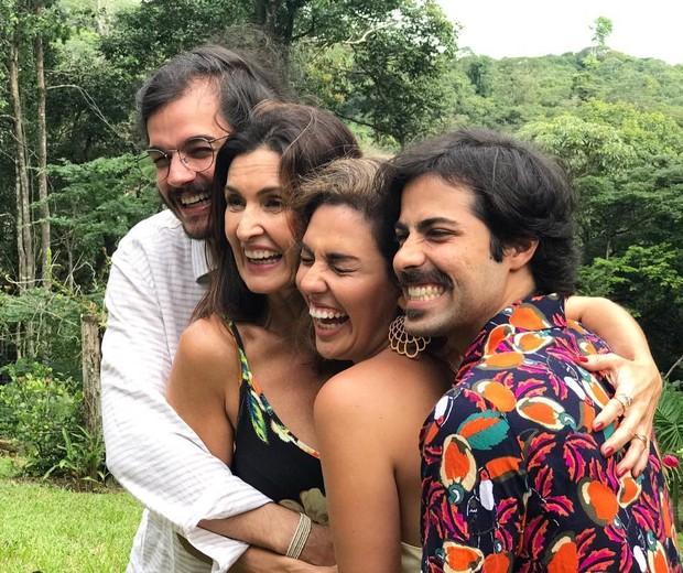 Fátima Bernades e o namorado Túlio Gadêlha com Duda Martins e Lucas Maia (Foto: Reprodução)