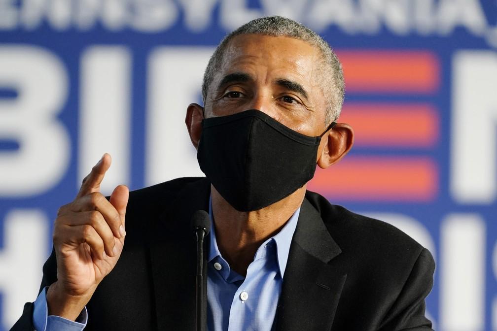 Obama durante evento de campanha de Joe Biden na tarde desta quarta-feira (21).  — ...</div></div>                                         <div class=
