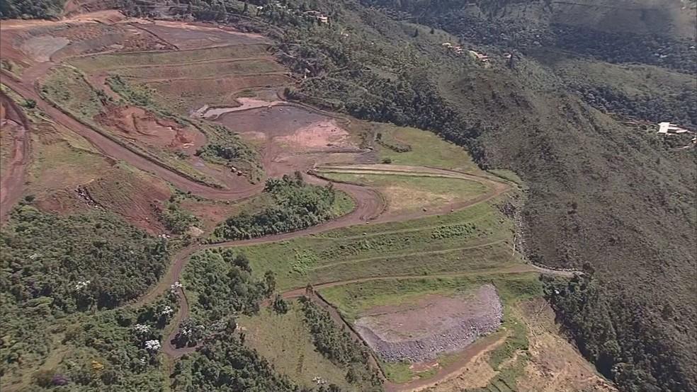 Local onde ocorreu a tragédia em Brumadinho — Foto: Reprodução / TV Globo