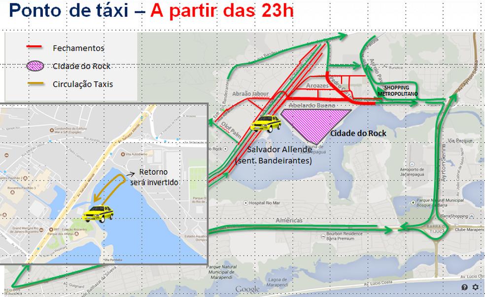Ponto de táxi funcionará após as 23h para a saída do Rock in Rio (Foto: Reprodução/Prefeitura do Rio)