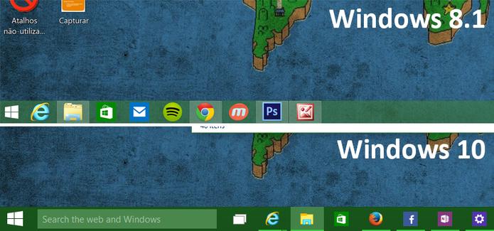 Windows 10 teve área de trabalho modificada pela Microsoft ganhando uma aparência mais simples (Foto: Reprodução/Elson de Souza)