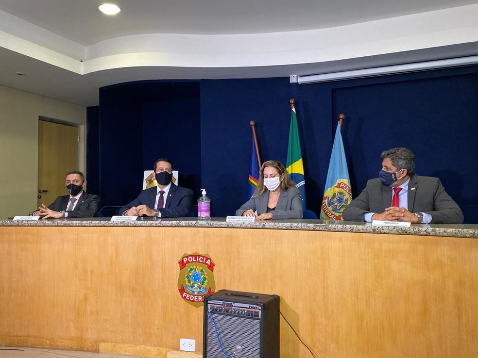 Delegados e representantes de órgãos públicos apresentaram detalhes da operação Desumano, da PF, nesta quarta-feira (16) — Foto: Marina Meireles/G1