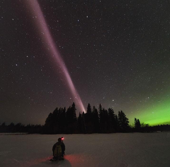 STEVE apresenta coloração roxa e é mais fino do que as auroras boreais (Foto: Ryan Sault / Alberta Aurora Chasers)