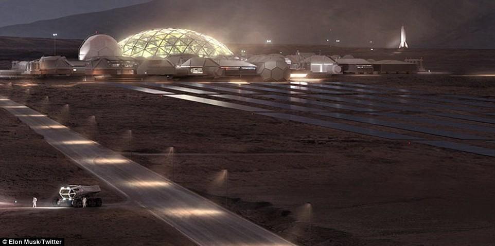 Painéis solares na Base Alfa de Marte (Foto: Reprodução/Twitter Elon Musk)
