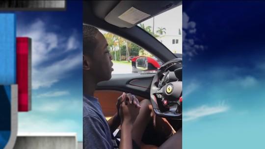 Filho de Wade tem primeira aula de direção em Ferrari de US$ 300 mil