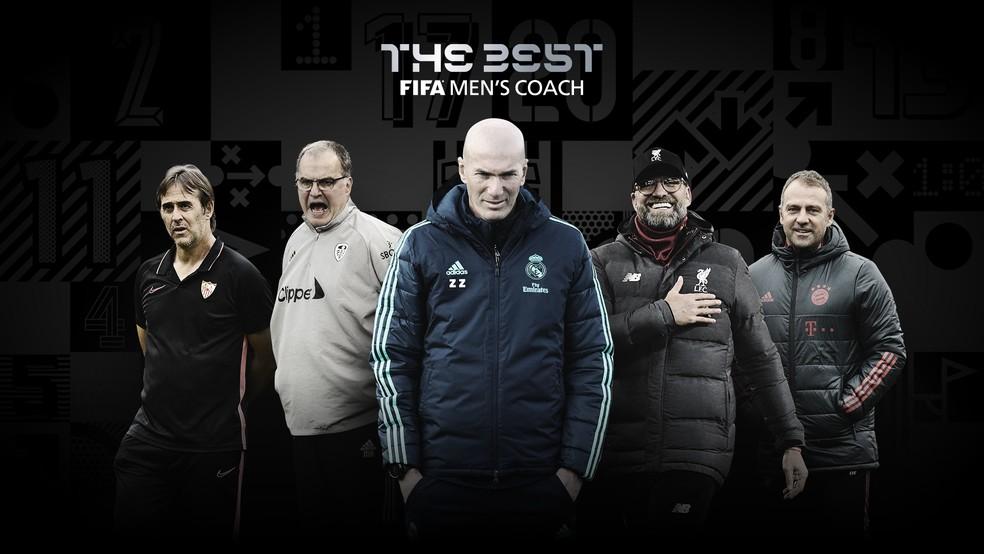 Lopetegui, Bielsa, Zidane, Klopp e Flick, candidatos a técnicos de times masculinos no Fifa The Best 2020 — Foto: Reprodução