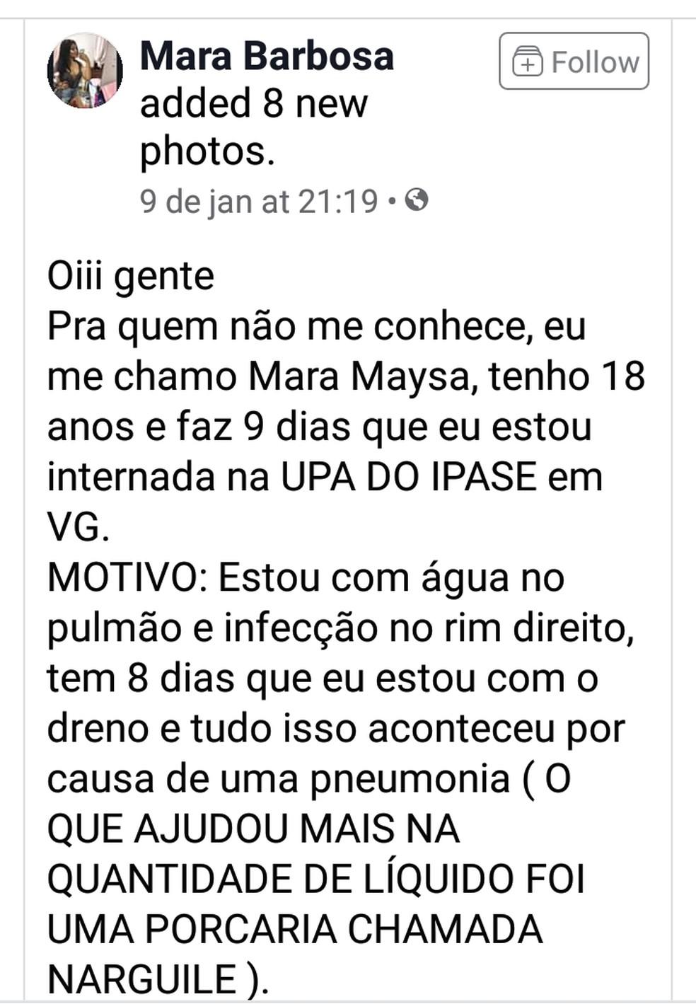 Mara fez post alertando sobre o uso de narguile — Foto: Facebook/ Reprodução