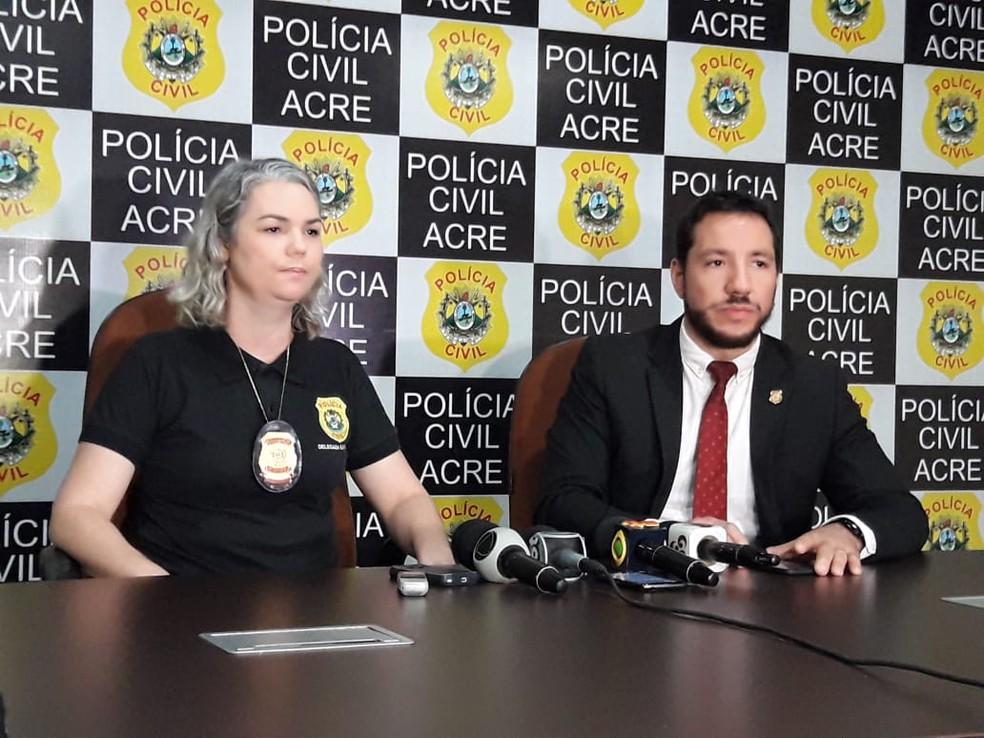 Delegada Elenice Frez e Alcino Júnior pediram que população denuncie os crimes para ajudar outras crianças  — Foto: Quésia Melo/G1