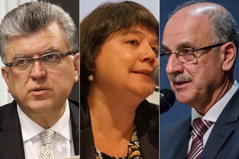 Mário Bonsaglia, Luiza Frischeisen e Blal Dalloul compõem a lista tríplice para a sucessão da PGR — Foto: Divulgação/ANPR; João Américo/PGR