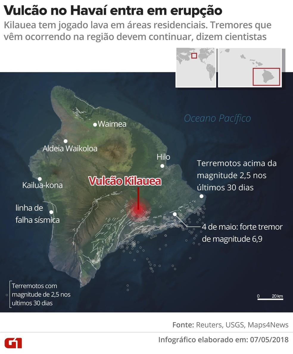 Erupção do vulcão Kilauea (Foto: Fernanda Garrafiel/G1)
