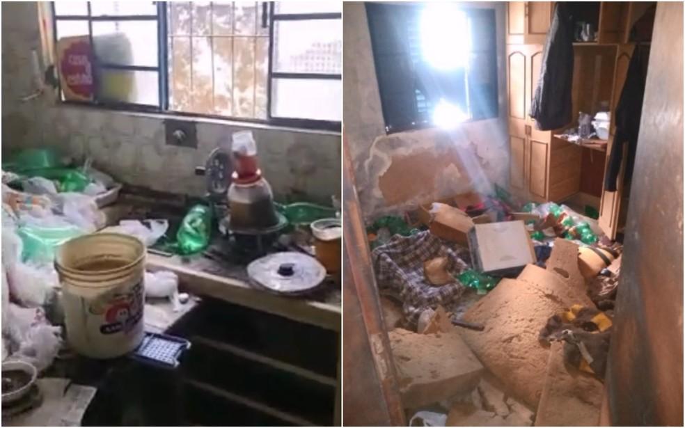 Casa em Avaré estava com muito lixo, sem água, energia elétrica e saneamento básico — Foto: Polícia Militar/Divulgação