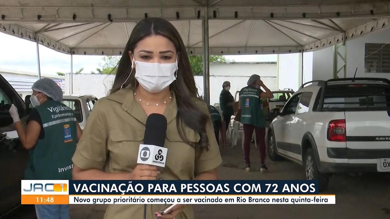 Idosos a partir de 72 anos começam a ser vacinados em Rio Branco