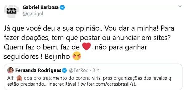Fernanda Rodrigues e Gabigol trocaram mensagens no Twitter (Foto: Reprodução)