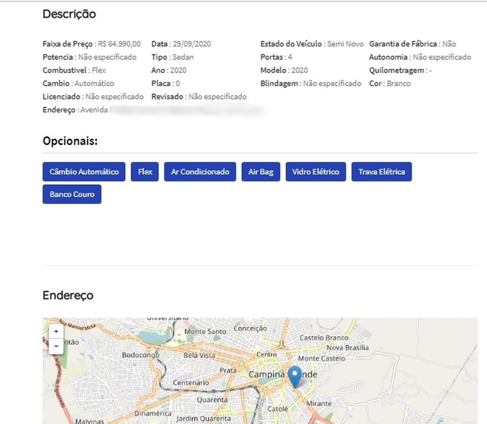 Site mostra informações sobre veículos à venda e dados de contato das concessionárias da PB — Foto: Reprodução/Bibiti