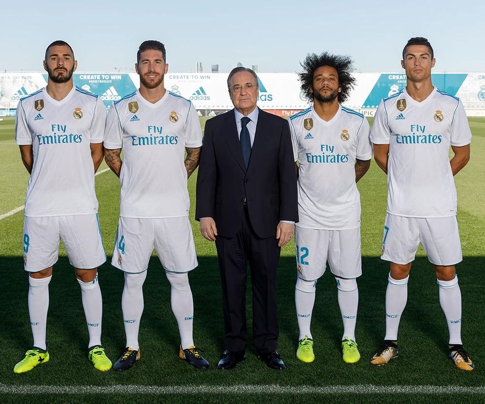 Marcelo é o segundo capitão do Real, atrás de Sergio Ramos e à frente de Cristiano Ronaldo e Benzama  (Foto: Reprodução / Twitter)