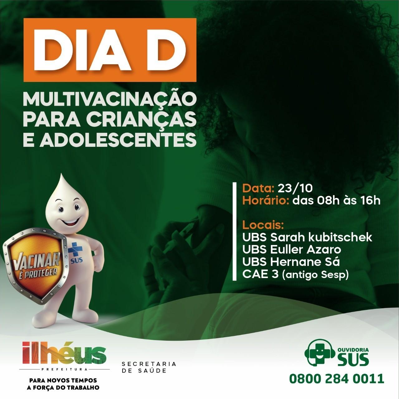 Prefeitura de Ilhéus promove Dia D da campanha de vacinação neste sábado