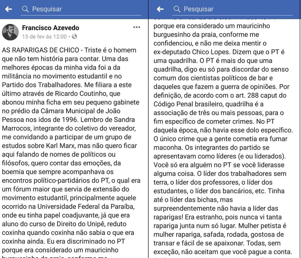 Texto compartilhado por delegado da Paraíba afirma que 'mulher pestista é mulher rapariga' — Foto: Reprodução/Facebook