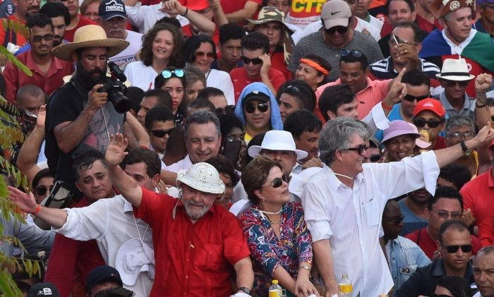 Lula e Dilma na inauguração popular da obra