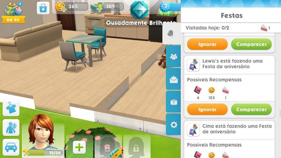 Compareça a festas para ganhar dinheiro e outros bônus em The Sims Mobile — Foto: Reprodução/Tais Carvalho